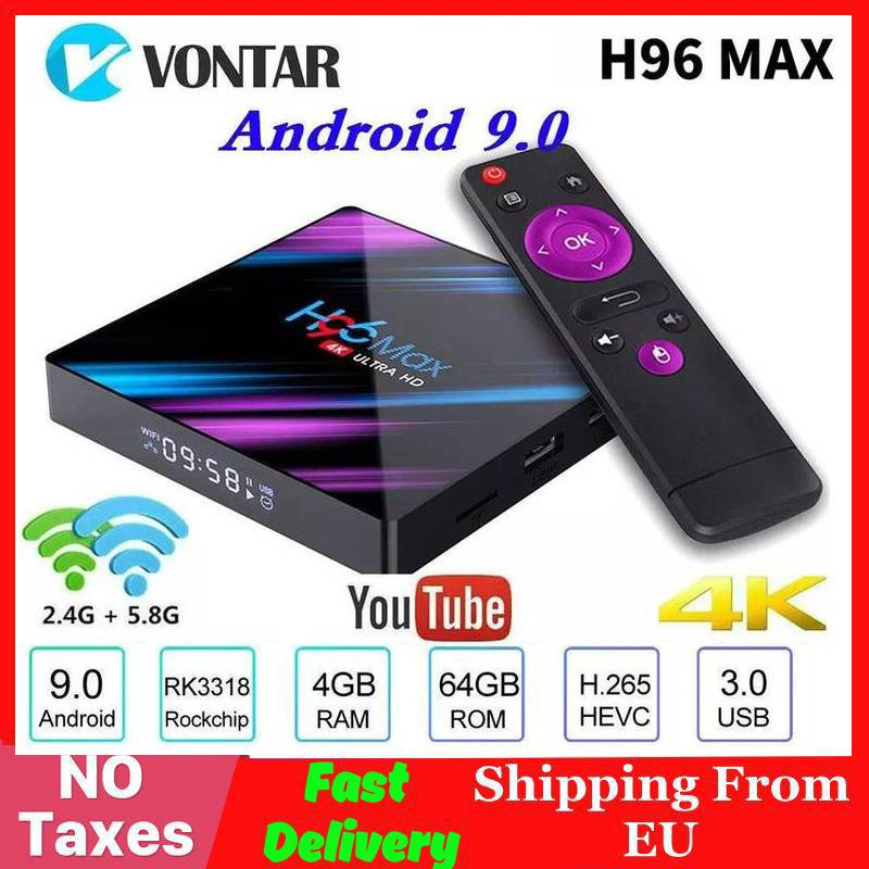 2019 H96MAX Smart 4K TV Box Android 9.0 4GB RAM 64GB ROM RK3318 1080p 60fps H96 Max Media Player Youtube Set Top Box 2G16G
