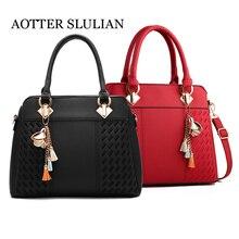 Luxury Women bag Oil wax Messenger PU Leather Handbags Lady