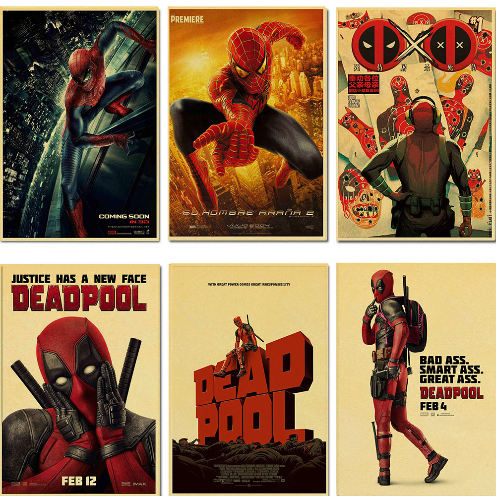 Retro poster sticker Marvel movie comic poster Deadpool high quality painting coated poster family bar wall decoration sticker image
