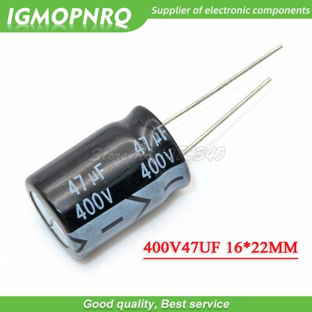 Capacitor eletrolítico de alumínio, 5 peças 400v47uf 16*22mm 47uf 400v 16*22