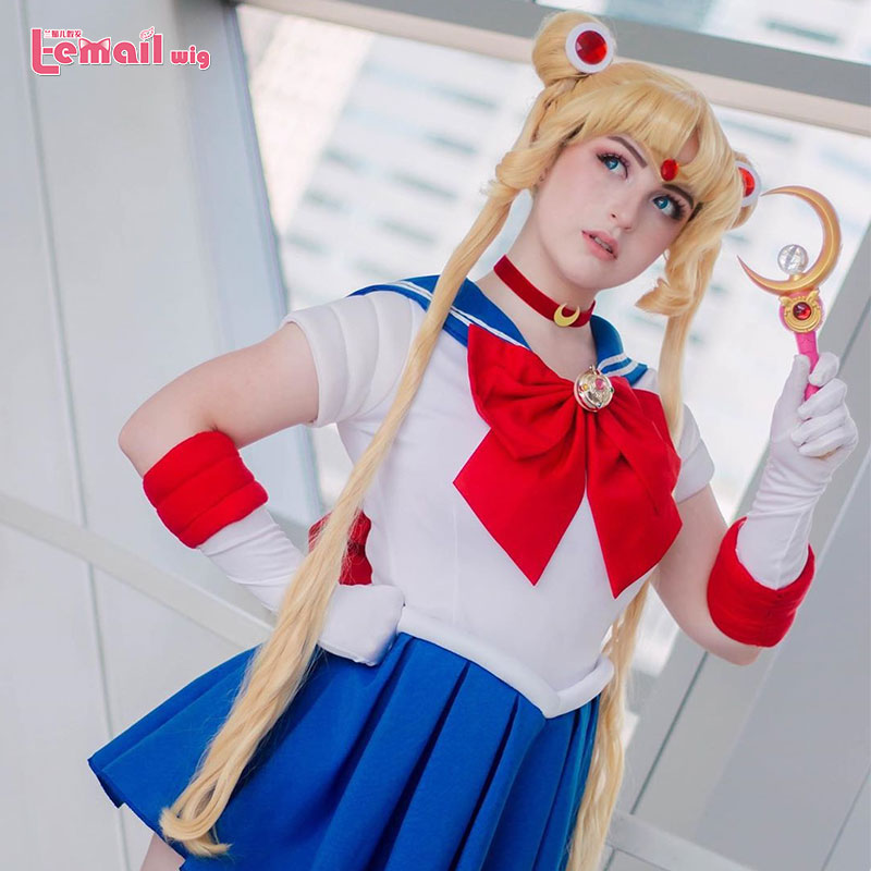 L-email Wig Sailor Moon Cosplay Wigs Super Long Blonde Wigs With Buns Heat Resistant Synthetic Hair Cosplay Wig Halloween