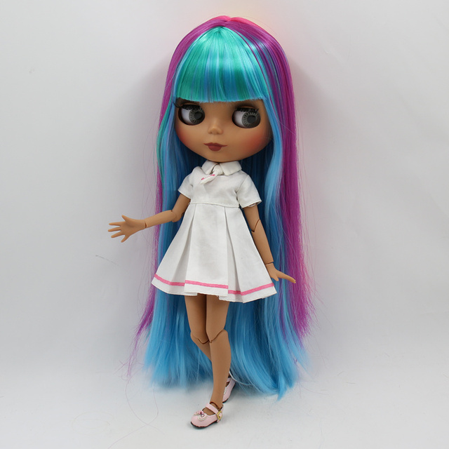 ICY factory blyth doll dark skin joint body new matte face fresh colorful straight hair DIY sd gift toy