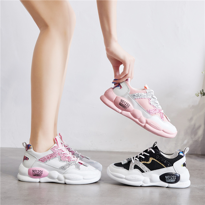 Womens Girls Running Pink Black White Flat Lace up Trainers Ladies Sneakers Shoe