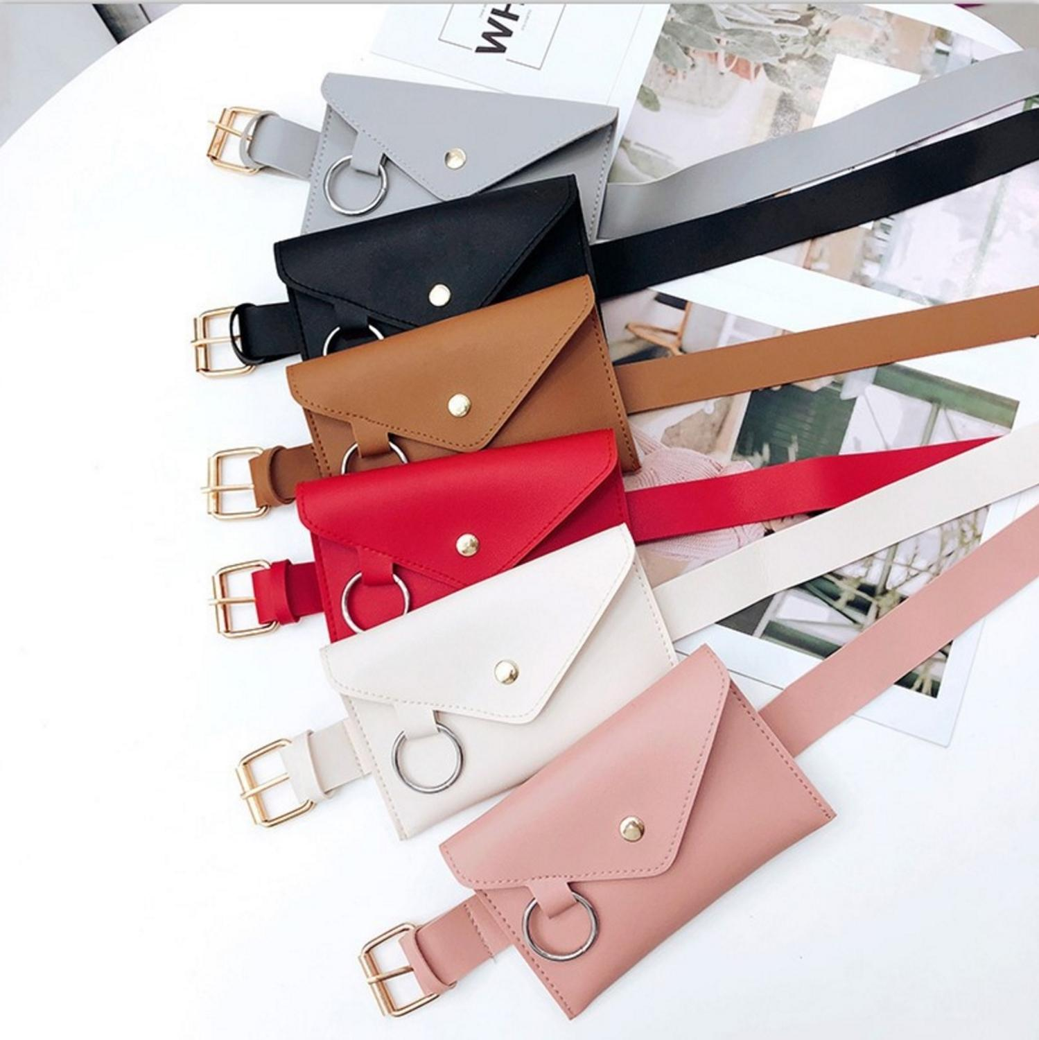 Fashion Women PU Leather Wasit Bag Vintage Crossbody Handbag Tote Classical Solid Handbag Pocket Bag Shoulder Bag