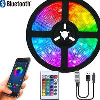 LED Streifen Lichter Bluetooth Luces Led RGB 5050 SMD 2835 Flexible Klebeband Diode TV Hintergrund Beleuchtung 1M-10M Fernbedienung + Adapter
