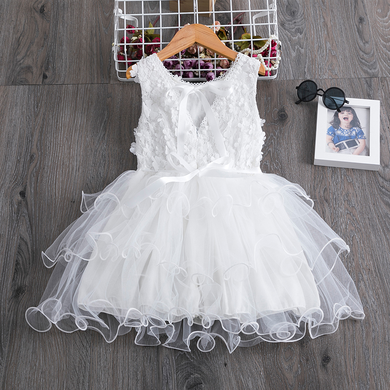 Summer Full White Christening Dress For Girls Floral Lace Layered Dress Baby Girl Birthday Party Dress Wedding Clothes Vestido