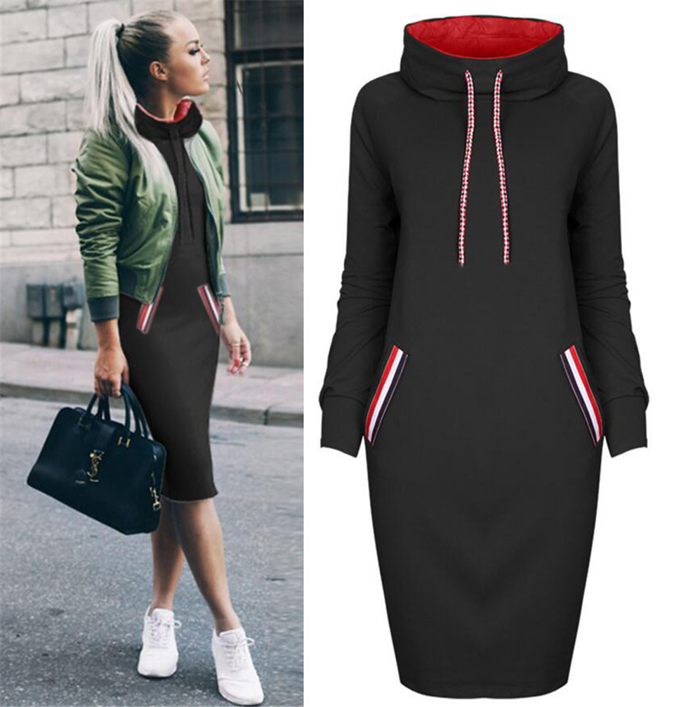 H824fdb94074f4515a48ef83000faefc9J - BKMGC Women Pockets Pullover Long Sweatshirt Dress Casual Dress Hoodies Women Tracksuit Sweatshirt Female Hoodie Dress