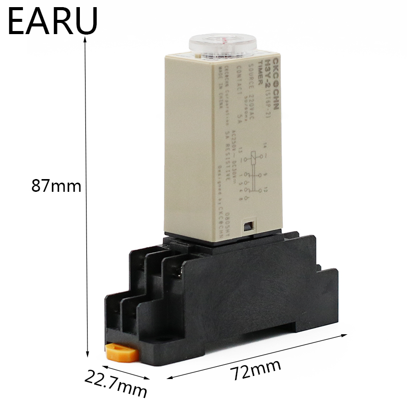 H824fe156432d4206ab0df58e413672283 - 1pcs H3Y-2 AC 220V Delay Timer Time Relay Switch 0 - 30 Minute/Seconds Adjustable 5A With Base Socket Rotary Knob DPDT