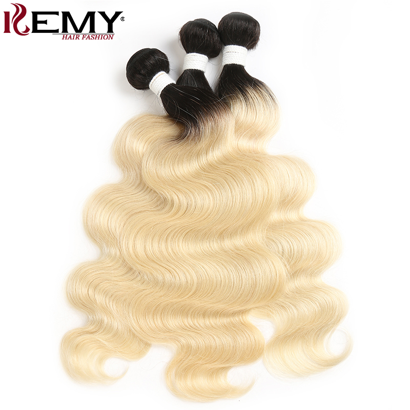 1b/613 Ombre Blonde Hair Bundles KEMY HAIR Brazilian Body Wave Human Hair Weave 8-26 Inches Non-Remy Hair Extension 1/2/3/4 PCS