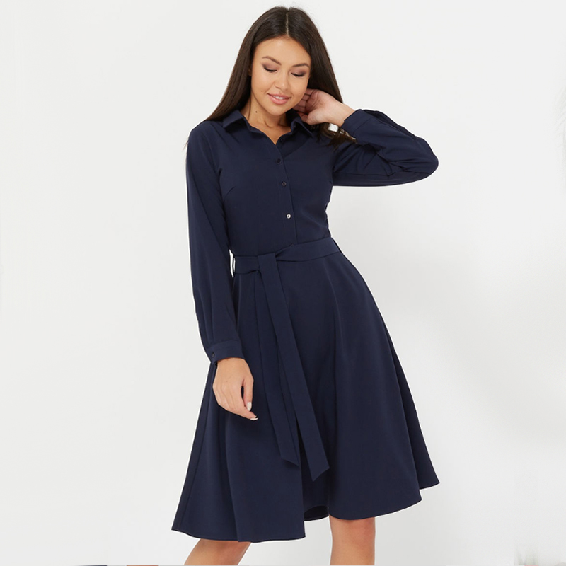 Women Vintage Front Button Sashes A-line Dress Long Sleeve Turn Down Collar Solid Party Dress 2020 New Early Spring Women Dress