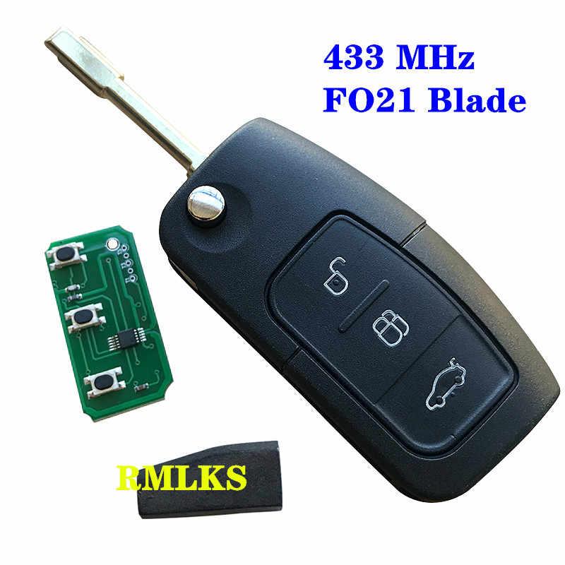 مفتاح بعيد 3 زر 315MHz 433MHz 4D60 4D63 ID83 رقاقة دخول بدون مفتاح فوب صالح لفورد مونديو فوكس فييستا C ماكس S ماكس غالاكسي