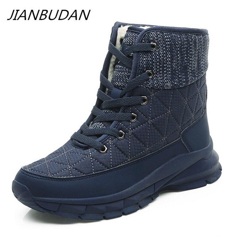 JIANBUDAN Big Size Women's Warm Snow Boots Casual Outdoor Cotton Shoes High Quality Plush Warm Lace-Up Women's Shoes 35-41