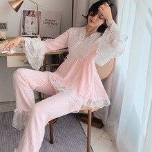 Baumwolle Garn Frau Pyjamas Anzug Schöne Plus Größe Pijama
