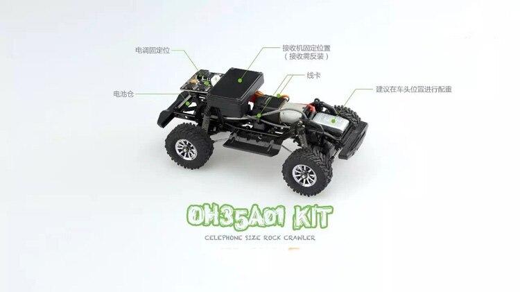 1/35 desmontado modelo mini controle remoto fora de estrada escalada carro kit para orlandoo huntera01 wrangler crawler peças diy - 2