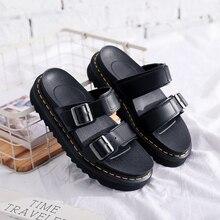 Sandálias de couro feminino novas anti-plataforma sapatos de couro senhoras chinelos sapatos planos moda casual sapatos femininos