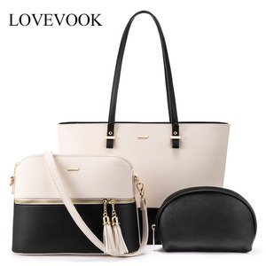 LOVEVOOK women shoulder bags crossbody bags for ladies large tote bag set 3 pcs clutch and purse luxury handbag women designer(China)