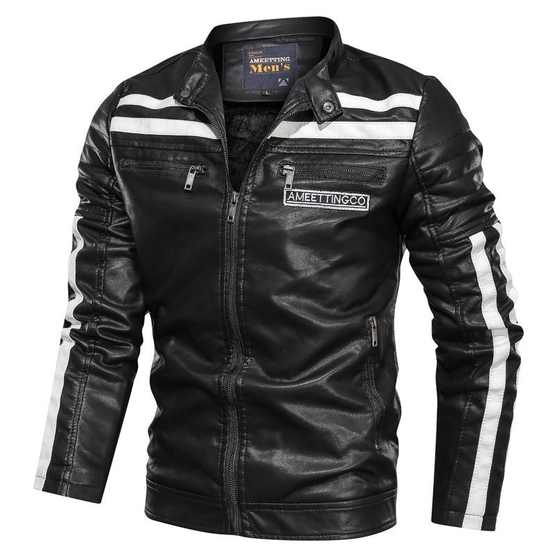 NEGIZBER Winter Men's Leather Jacket Casual Fashion Stand Collar Bomber Jacket Men Solid Plus Velvet Joker Leather Jacket Men