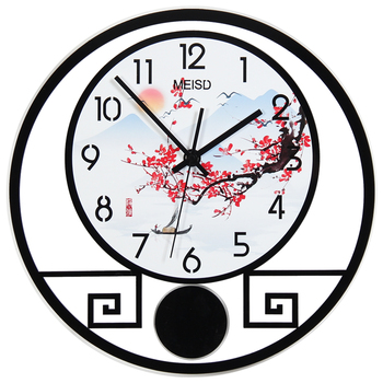 Chinese Traditional Style Swing Wall Clock Modern Design Plum Mountain Pattern 3D Digital Watch Classical Retro Pendulum Clocks