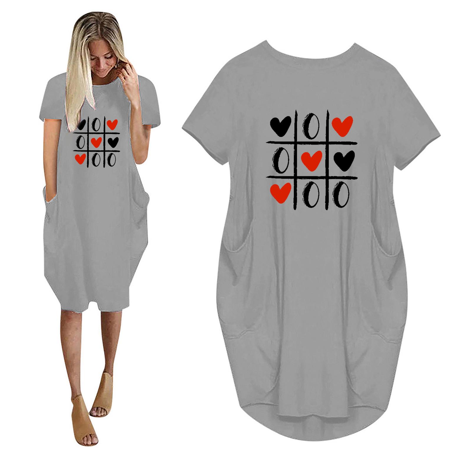 40# Love Printing Casual Pocket Women's Drees Short Sleeve O  Neck Office Lady Summer Dresses For Women 2021 Платья Для Женщин