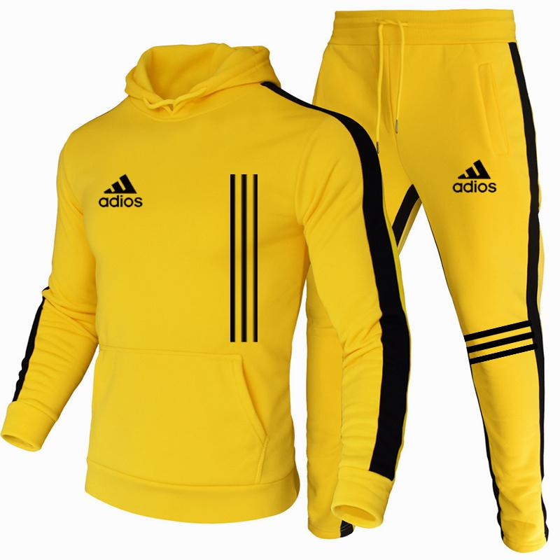 The New Men's Hoodie Sports Suit Cotton Polyester Drawstring Sportswear Trend Fashion Autumn And Winter Pullover Suit S-3XL