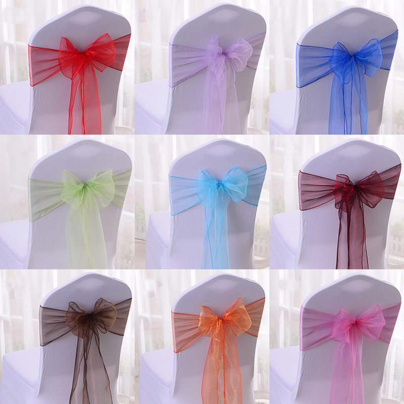 50/100pcs High Quality Sash Organza Chair Sashes Wedding Chair Knot Decoration Chairs Bow Band Belt Ties For Banquet Weddings