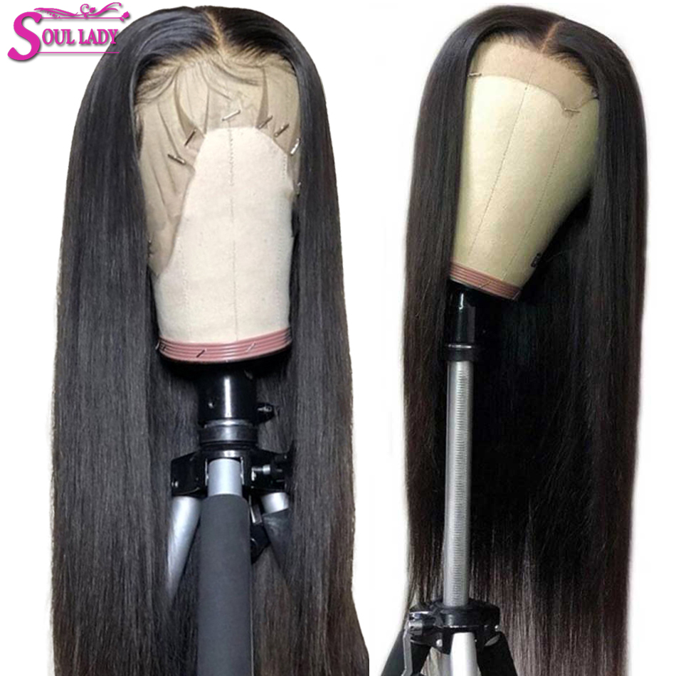 Transparent Human Hair Front Straight Wigs With Baby Hair Remy Malaysian Hair Lace Wig Preplucked And Bleached Knots Lace Wig