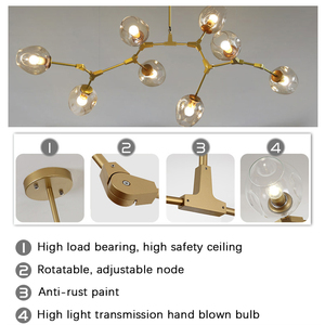 Image 3 - Moderno Lampadario In Vetro di Illuminazione Per Pubilc Loft AC 85 265V Max 60W/riscalda Placcato Grigio Chiaro ambra Paralume In Vetro Lampada Da Soffitto
