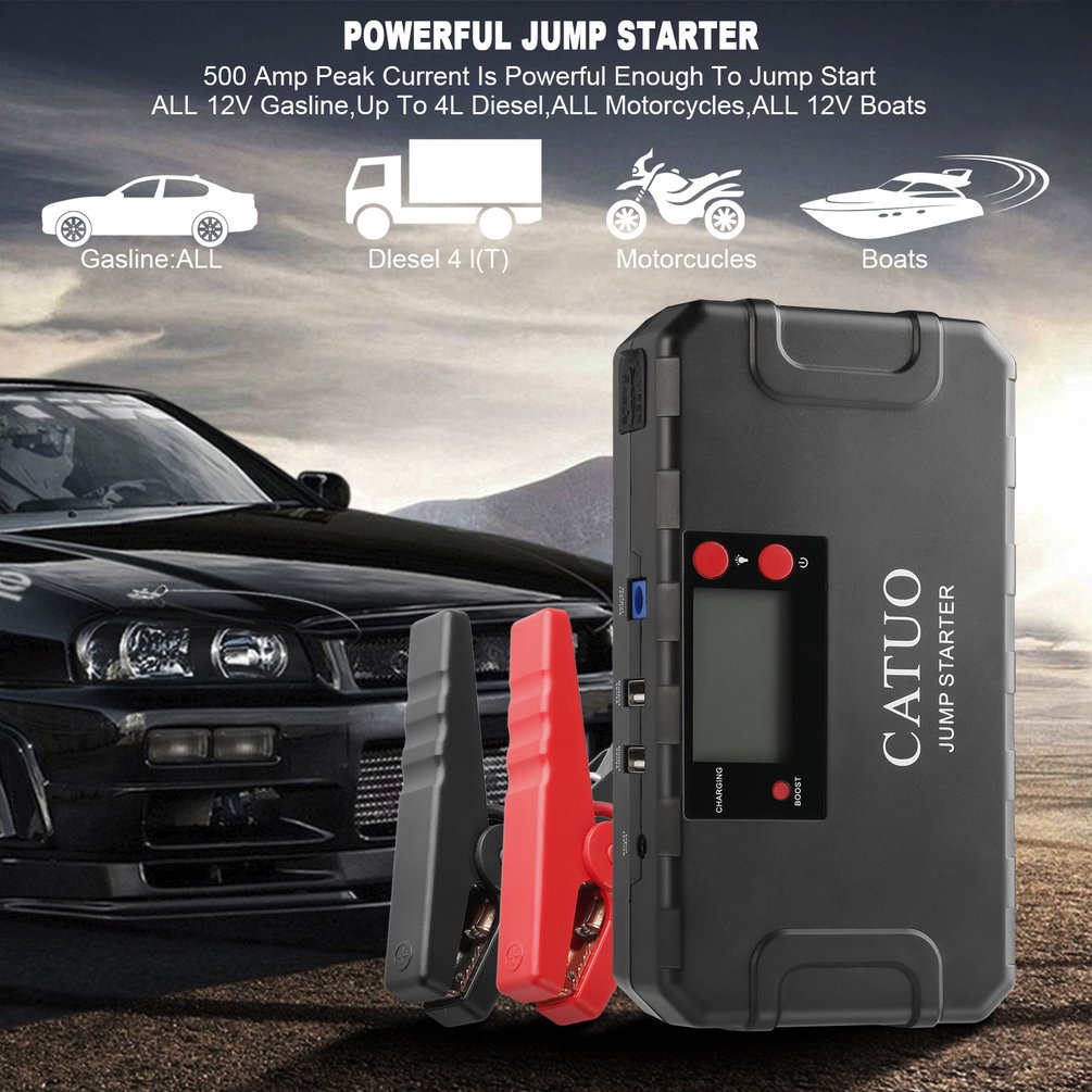 CATUO 13600mAh Portable Auto Car Jump Starter Battery Booster with USB Power Bank LED Flashlight for Truck Motor Boat JP