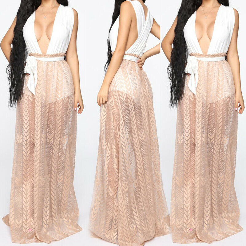 Womens Chiffon Sheer High Waist Skirt Maxi Long Pleated Skirts Beach Cover Up