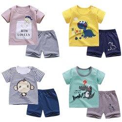 Футболка для маленьких мальчиков и девочек 2 шт., комплект летней одежды, одежда из чистого хлопка для младенцев, детские шорты с коротким ру...