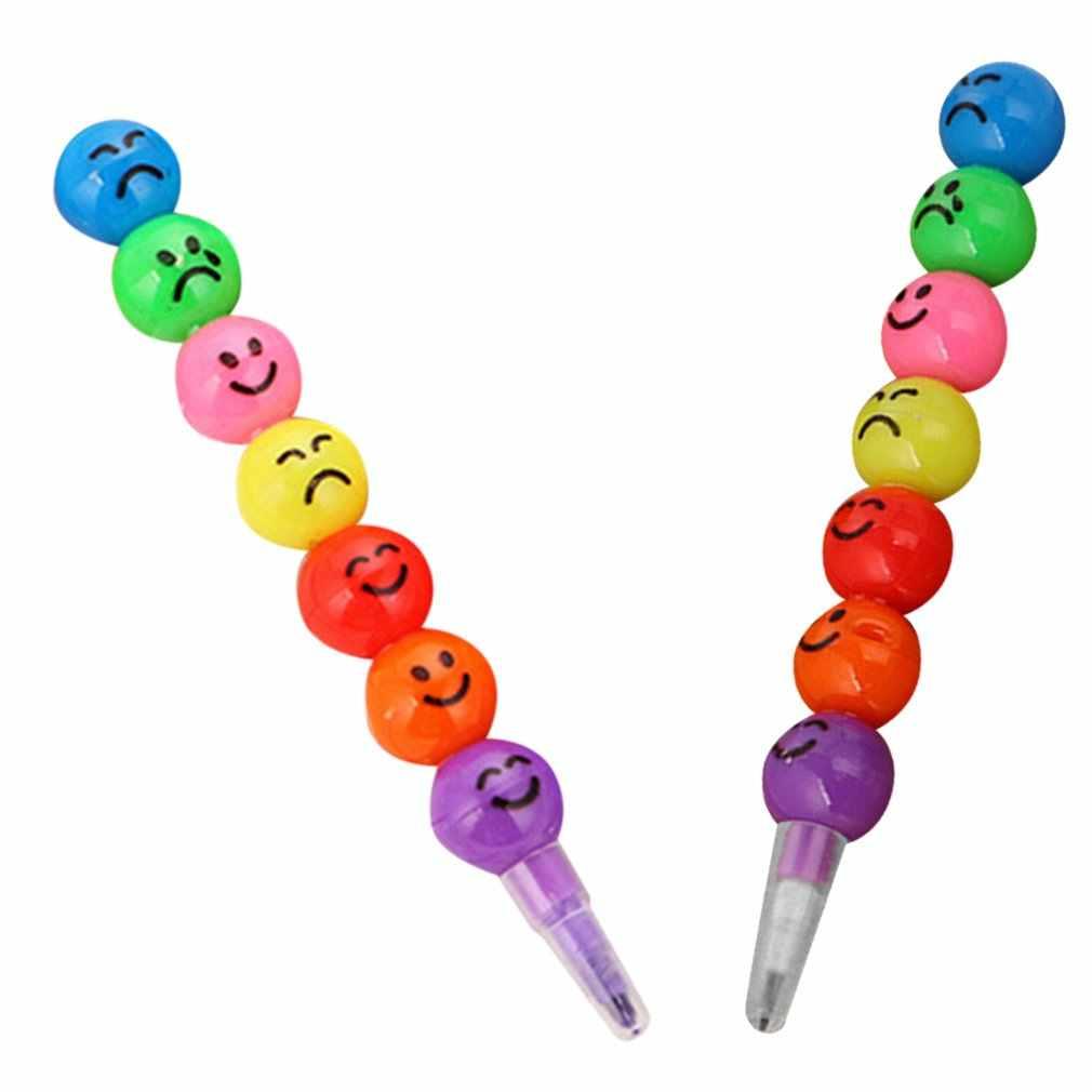 7 ดินสอสีการ์ตูนยิ้ม Face Expression Candy Gourd ปากกาเด็กนักเรียนภาพวาดเครื่องเขียนโรงเรียนอุปกรณ์สำนักงานใหม่