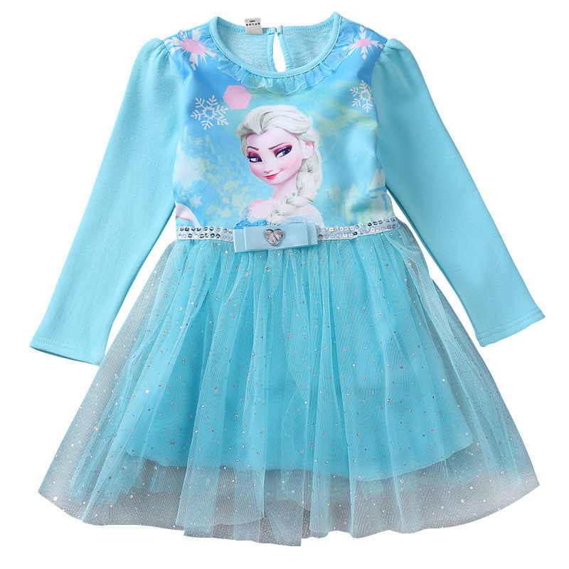 New Anna Elsa Dress Princess Girl Dresses Costumes for Children Fancy Party Anna Dress Role-play Halloween Cosplay Toddler 2-10Y