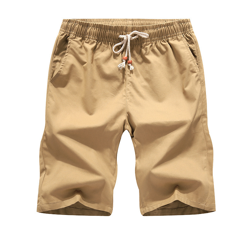 Pure Cotton Men Medium Waist With Drawstring Solid Color 5 Pants Large Size Casual Shorts Men's K9999 Beach Military Training