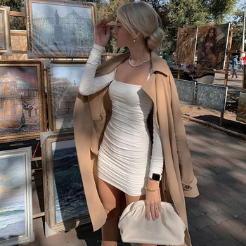 Women's Casual Long Sleeve Dress Fashion Solid Color Square Collar Pleated Slim Fit Short Dress 1