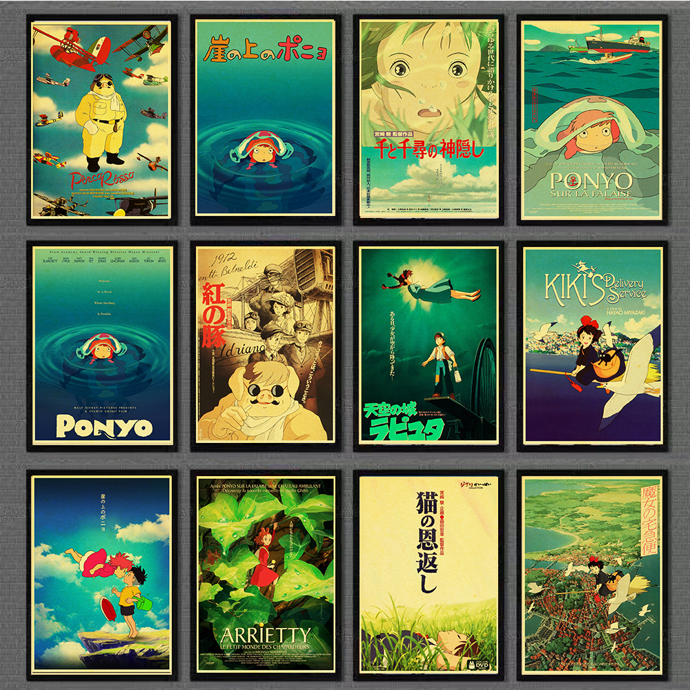Hayao Miyazaki Anime Movie Poster Set Kraft Paper Cafe Bar Retro Poster Decorative Painting for home/bar image