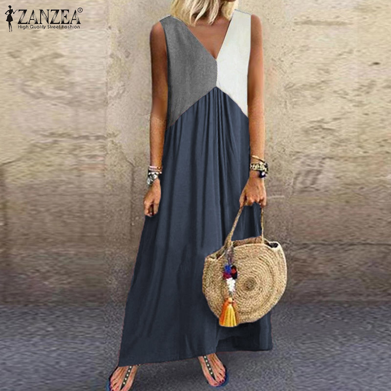 2020 Summer Sleeveless Dress ZANZEA Women Casual Long Maxi Vestidos Patchwork Color Loose Pockets Dresses Beach Party Sundress
