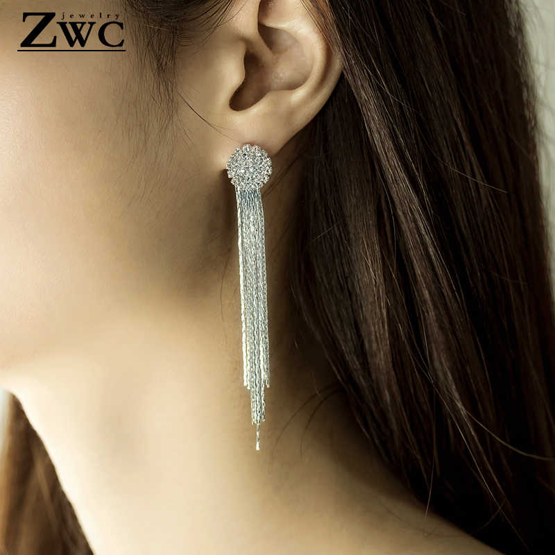 ZWC แฟชั่นเกาหลีพู่กันคริสตัล Drop ต่างหูสำหรับงานปาร์ตี้ Charm อารมณ์จี้ต่างหูเครื่องประดับของขวัญขายส่ง