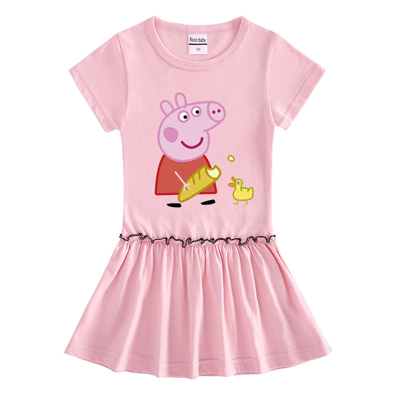 Peppa Pig Summer Dress for Chirl Girl Cotton Short-Sleeved Baby Cartoon Fungus Edge Pleated Cute Elegant Dress