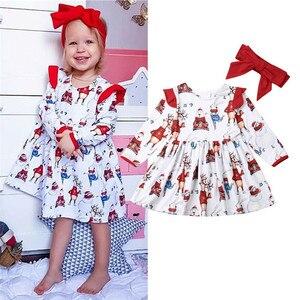 PUDCOCO/Рождественский комплект из 2 предметов для маленьких девочек; Повседневные Вечерние платья с рождественским оленем; одежда для торжест...