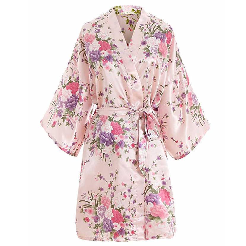 Seksi pembe artı boyutu gelinler gelinlik elbise elbise kadınlar baskı saten gecelik çiçek Kimono bornoz elbisesi pijama G09
