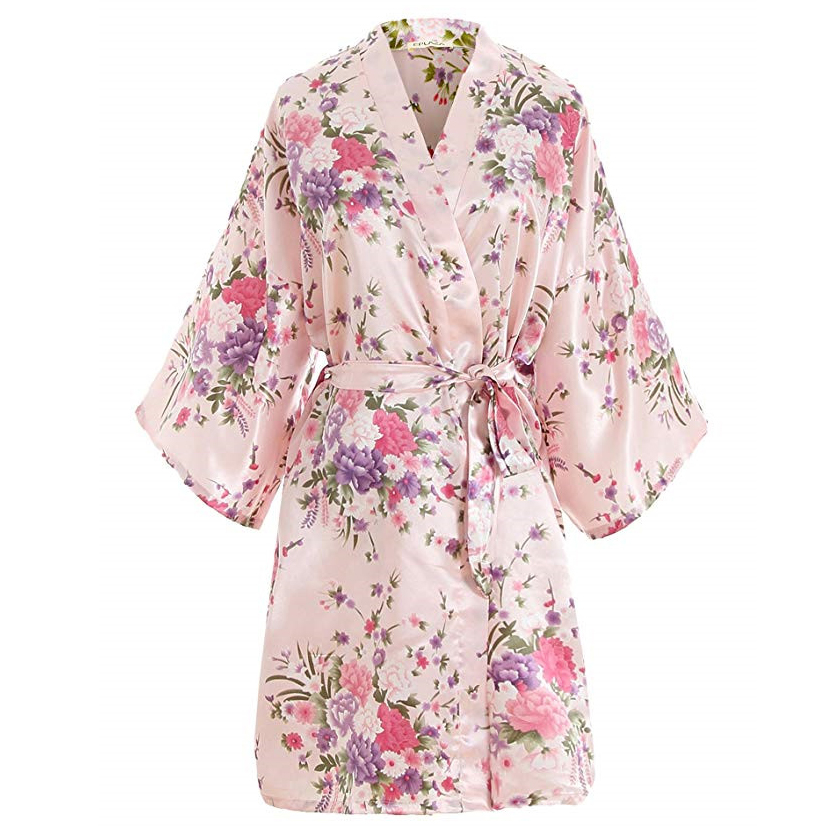 Sexy Pink Plus Size Brides Bridesmaid Wedding Robe Dress Women Print Satin Nightwear Flowers Kimono Bathrobe Gown Pajamas G09