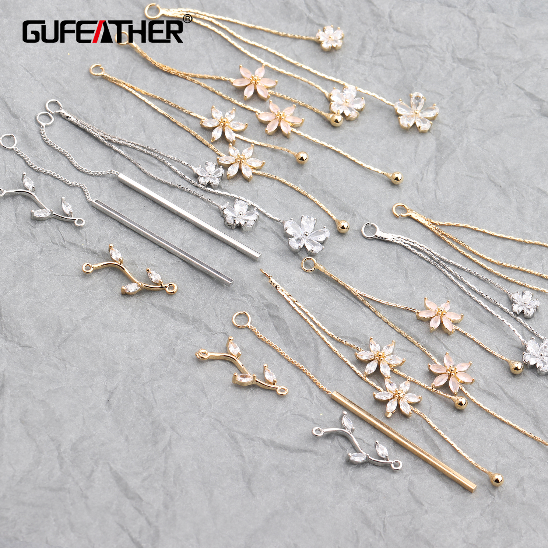 GUFEATHER M579,jewelry Accessories,18k Gold Plated,zircon,hand Made,jewelry Findings,jewelry Making,diy Earrings,10pcs/lot