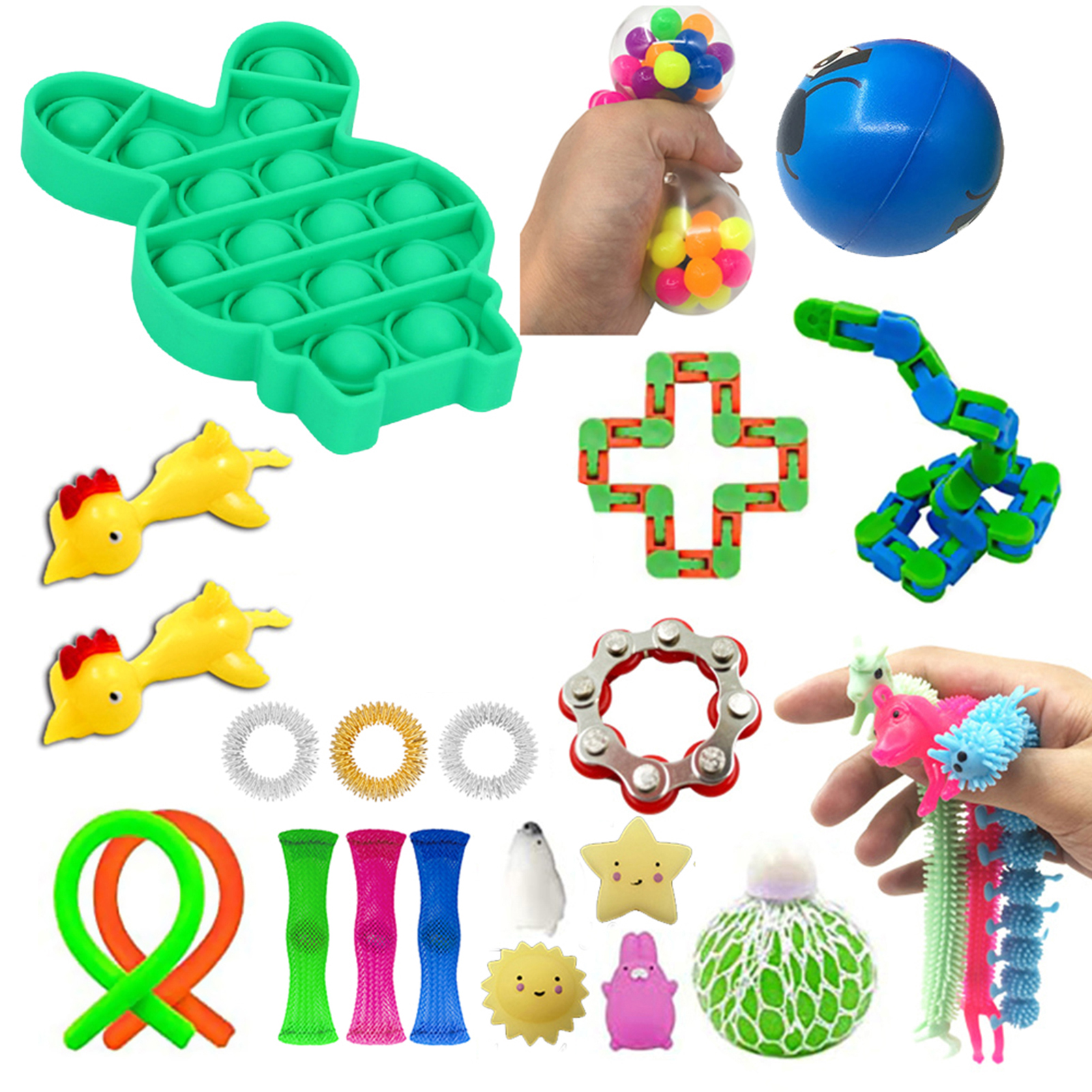 24PCS Pack Fidget Sensory Toy Set Stress Relief Toys Autism Anxiety Relief Stress Pop Bubble Fidget Toys For Kids Adults enlarge