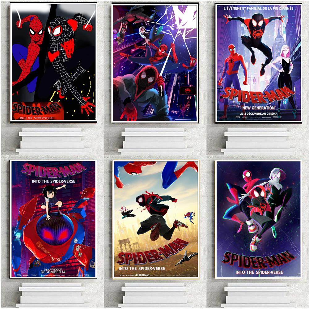Marvel Comics Superhero Spiderman Poster Spider-Man Into The Spider-Verse Movie Printing Poster Wall Art for Kids Room Decor