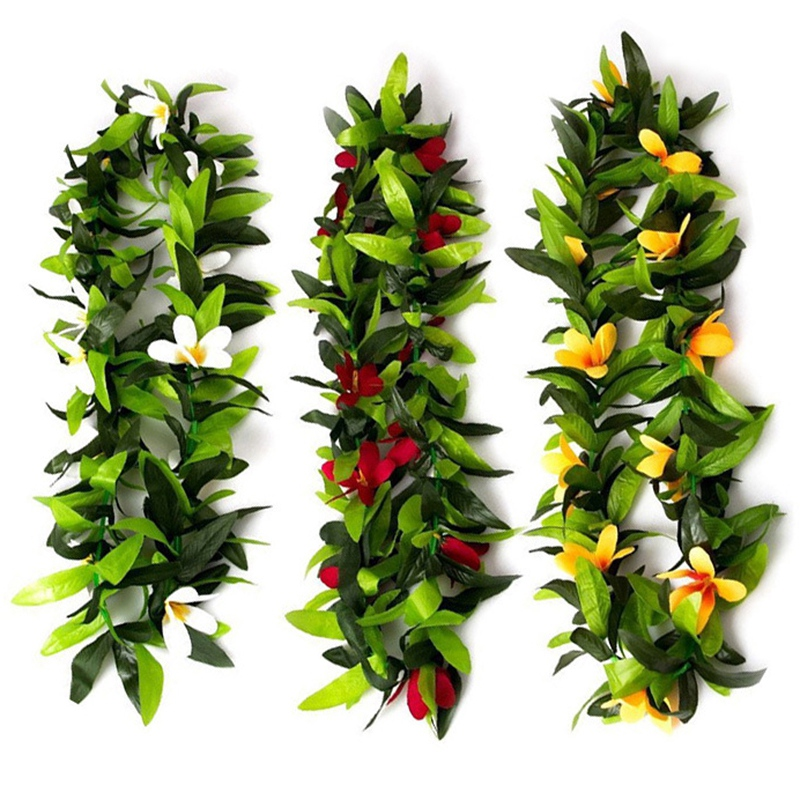 Luau Leis 3 Pcs Artificial Flowers Tropical Hawaiian Lei Leaf Necklaces For Hula Costume And Beach Party