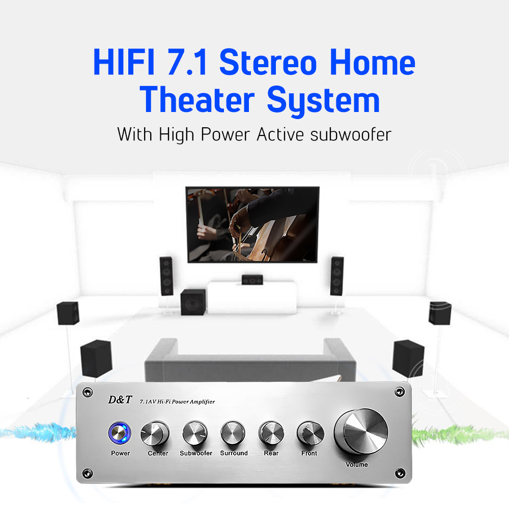 AIYIMA 7.1 Home Theater Power AV Amplifier 8x20W 8 Channel Audio Sound Amplifier Active Subwoofer Speaker Amplificador - 5