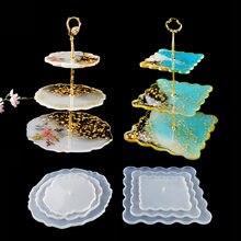 Diy molde de silicone de cristal três camadas placa de frutas placa de chá resina epóxi molde copo almofada molde para resina arte decoração de casa