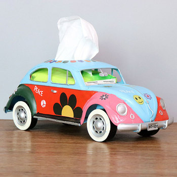 Flower Retro Iron Bus Tissue Box Model Figurines Car Craft Home Decoration Accessories for Living Room Ornaments for Home Decor 17