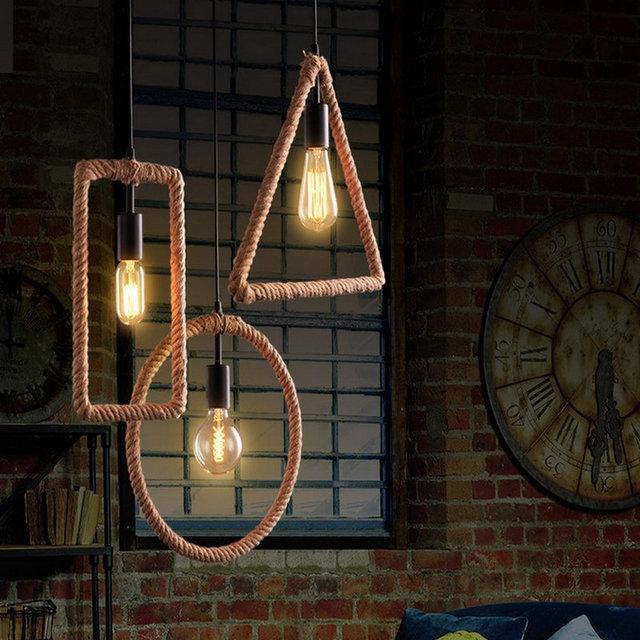 Vintage Industrieel Touwlamp 3