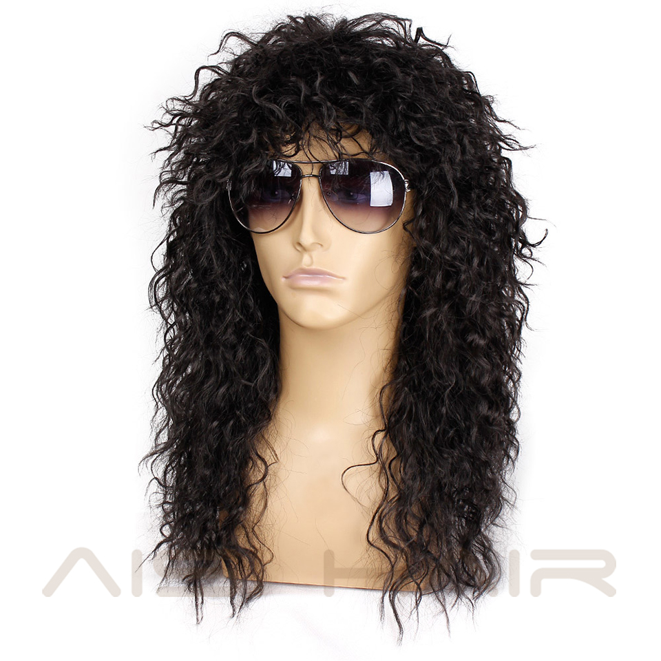 Image 2 - AISI HAIR Long Natural Black Curly wigs With Bang 20 Inches Synthetic Wigs  for Black Man/Women Heat ResistantSynthetic None-Lace  Wigs   -